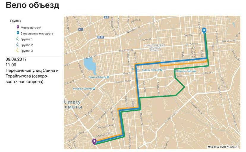 Карта маршрута вело объезда