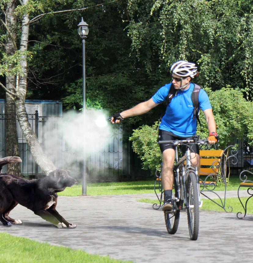 Велосипедист и защита от собак