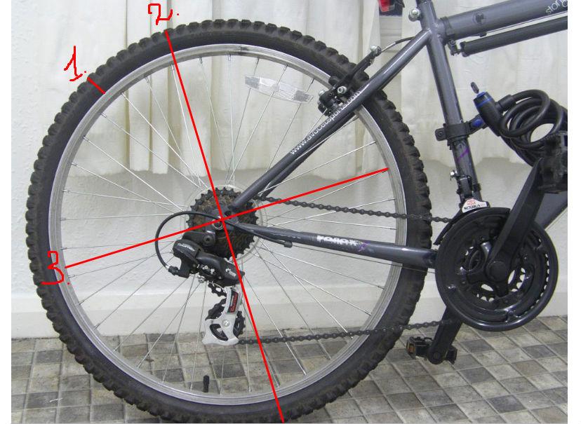измеряем диаметр велосипедного колеса.